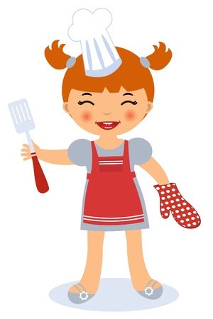 chef s hat: Little girl cooking Illustration