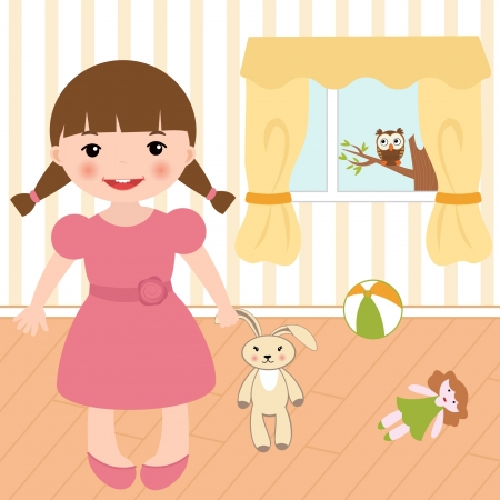 Little girl in a room Vector