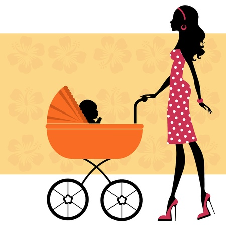 Beautiful mom with a baby in baby carriage Vector