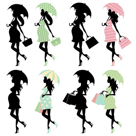 attractive woman: Chick pregnant women with umbrellas set
