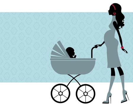 Elegant pregnant woman with another baby in baby carriage Vector