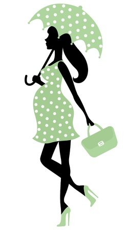 Pregnant lady with umbrella Vector