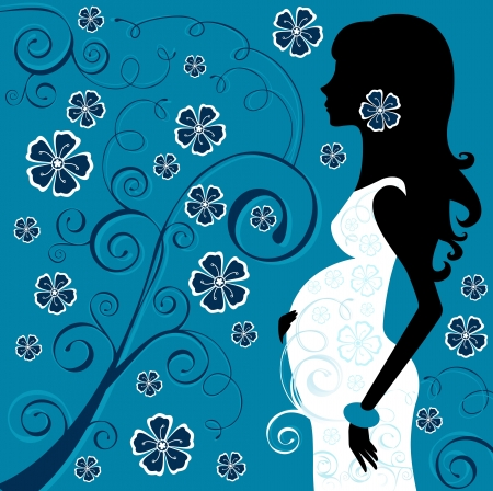 Pregnant beauty in flowers Stock Vector - 14096023