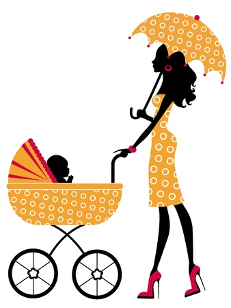 Chick mom with child in pram Stock Vector - 14096020