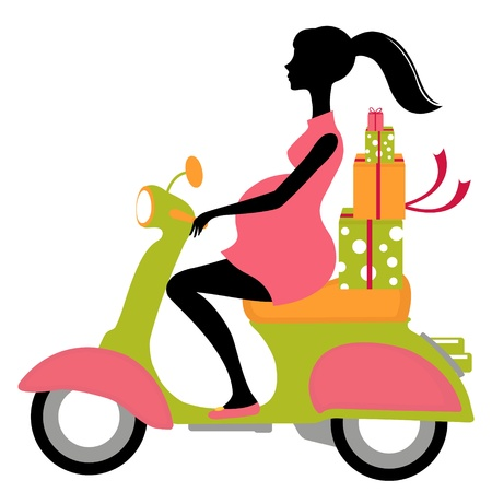 Pregnant woman on scooter with gifts