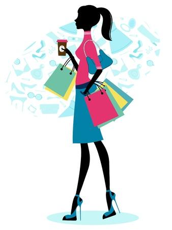 shopper: Sch�ne Frau beim Einkaufen mit Kaffee Illustration