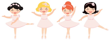Cute dancing ballerinas Vector