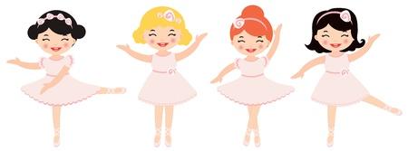 cartoon ballerina: Cute dancing ballerinas