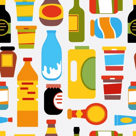 condiments: Grocery seamless pattern Illustration