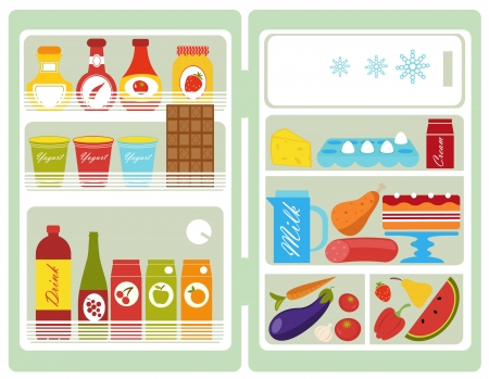 Open fridge full of food Vector