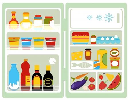 refrigerador: Nevera abierta Vectores