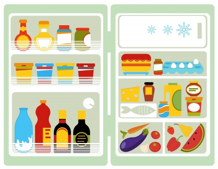 fridge: Open fridge Illustration