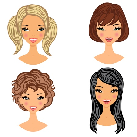hair style collection: Beautiful girls faces set