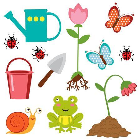 regando el jardin: Iconos lindos jardiner�a Vectores