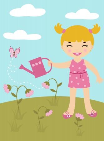 Cute girl gardening Stock Vector - 14396118