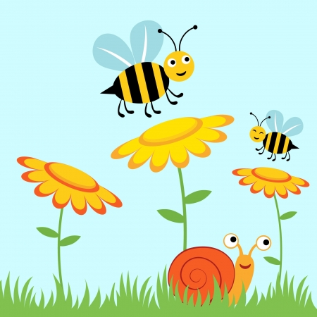 Happy bees and snail Stock Vector - 14396113