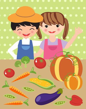 aubergine: Happy little farmers with table full of vegetables
