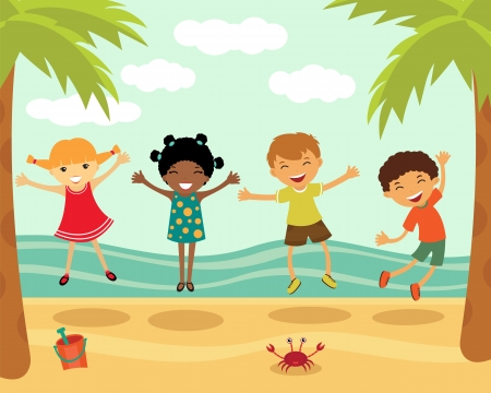 Happy kids jumping at the beach Stock Vector - 14396122