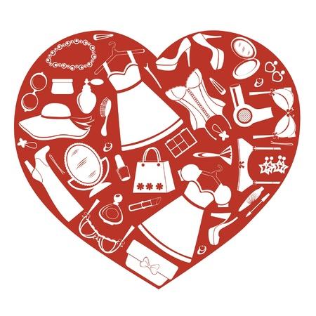 Küken Herz Shopping Vektorgrafik