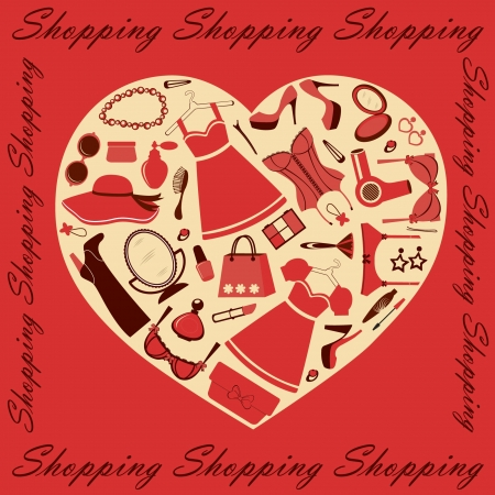 look in mirror: Heart shopping Illustration