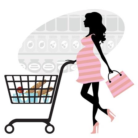 mujer en el supermercado: Mujer embarazada de compras en el supermercado Vectores