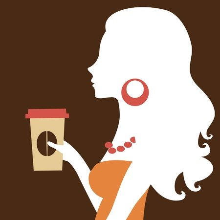 A vector illustration of a beautiful woman holding a paper coffee cup Vector