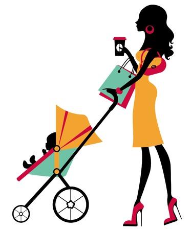 poussette: Achats maman poussin avec l'enfant Illustration