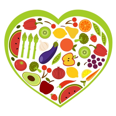 nutrition icon: Fruit and vegetables heart shape Illustration