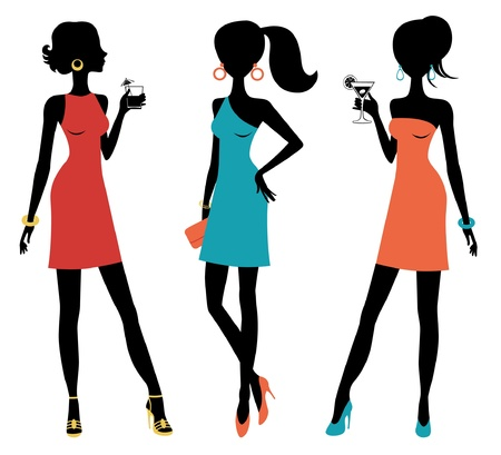 high heels woman: A vector illustration of three chick women posing at a party Illustration