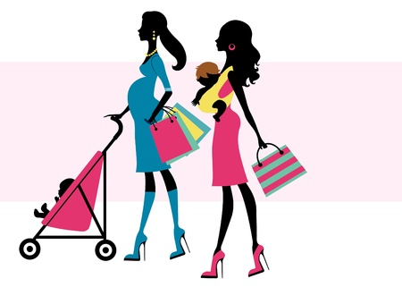 A vector illustration of two beautiful moms shopping with children
