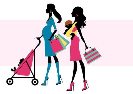 draagdoek: Een vector illustratie van twee mooie moeders winkelen met kinderen