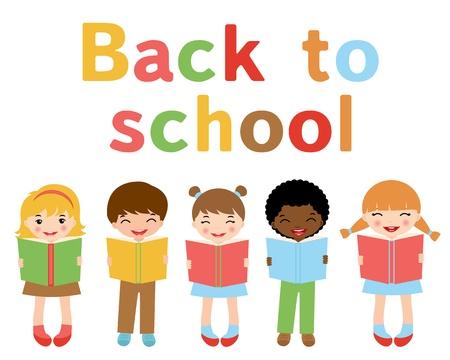 cartoon school girl: Regreso a ni�os de la escuela Vectores