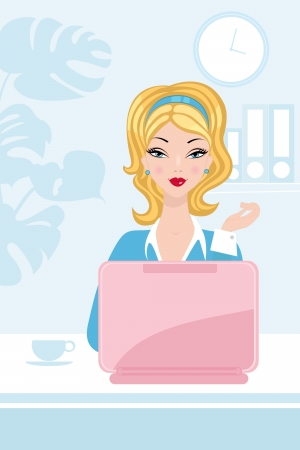 woman illustration: Beautiful woman working in the office