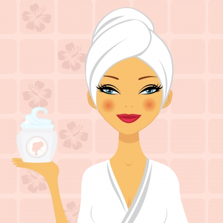 cosmetic cream: A illustration of a beautiful woman holding a moisturizing cream Illustration
