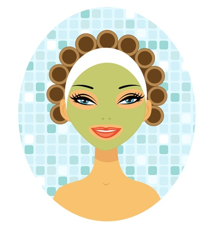 hair curlers: A beautiful woman with hair curlers Illustration