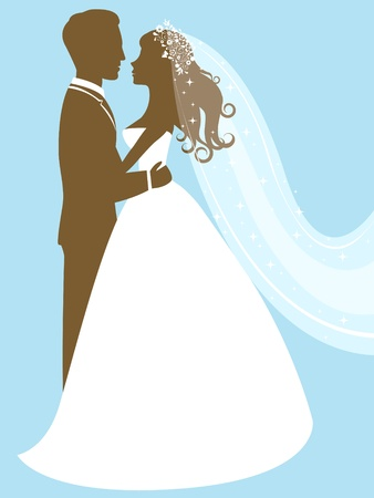 silhouette of female characters: Bride and groom