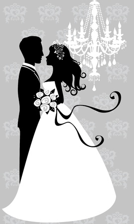 cartoon wedding couple: Bride and groom embracing