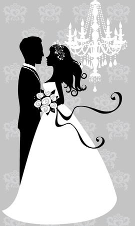 Mariée et le marié embrassant Vecteurs