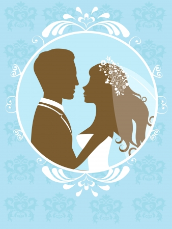 Bride and groom in a frame Vector