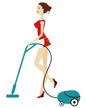 mujer limpiando: Hermosa mujer de limpieza con aspiradora