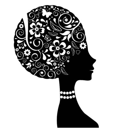 head silhouette: Floral woman head silhouette