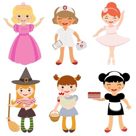 cartoon princess: Girls occupation Illustration