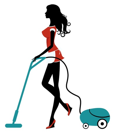 cleaner: Girl with vacuum cleaner