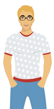 trendy male: handsome man Illustration
