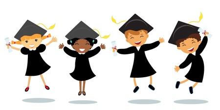 graduacion caricatura: Graduados feliz saltando Vectores