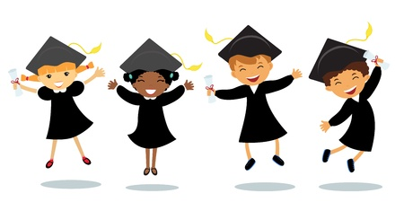 diplomas: Happy graduates jumping