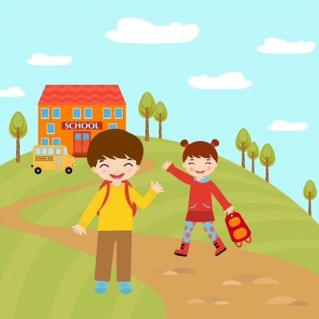 primary: Kids going to school Illustration