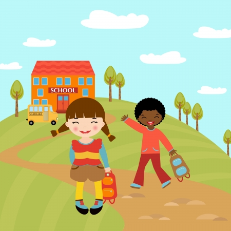 Happy kids going to school Vector