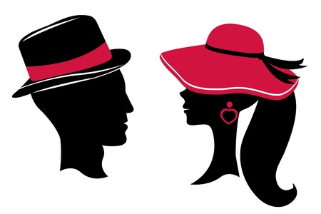 Man and woman head silhouettes Vector
