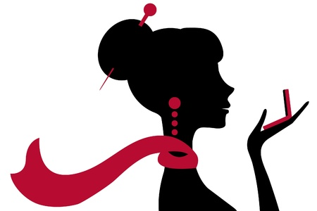 아름 다운 여자는 작은 거울을보고